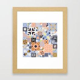 Peach and Lavender Quilt Framed Art Print