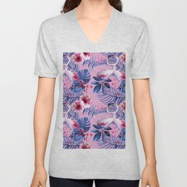 watercolor illustration of a tropical leaf and a pink flamingo watercolor illustration Unisex V-Neck