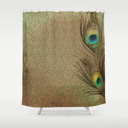 Vintage Peacock Feather Shower Curtain
