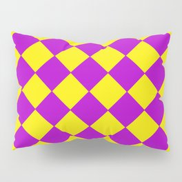 Plaid in crimson and yellow colours . Cell . Pillow Sham