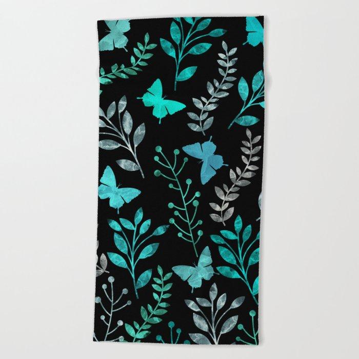Watercolor flowers & butterflies IV Beach Towel