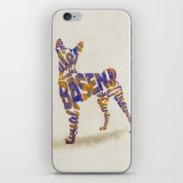 Basenji Dog Typography Art / Watercolor Painting iPhone Skin