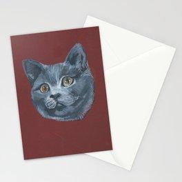 Grey Gray Cat Kitten Head Green Eyed Stationery Cards