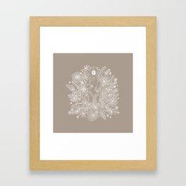 Botanical Bear Garden Taupe Framed Art Print
