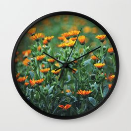 Orange Flowers #1 Wall Clock