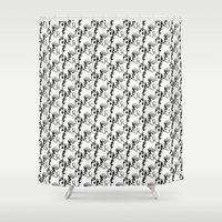 my little pony Shower Curtains featuring my little skull pony by fmppstudio