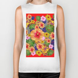 TROPICAL FLOWERS & LEAVES RED ART Biker Tank