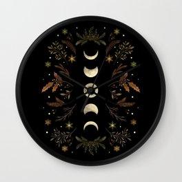 Moonlight Garden - Winter Brown Wall Clock