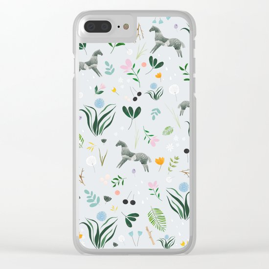 Green Horses Clear iPhone Case