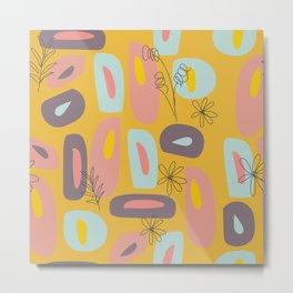 Mod Florals in Mustard Metal Print