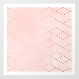 Rosegold Pink Geometric Blocks Art Print