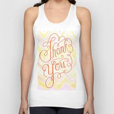 Thank you - hand lettered on chevron Unisex Tank Top