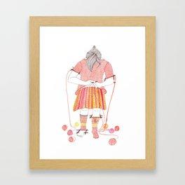 Knitster Girl Sweater & Socks Framed Art Print