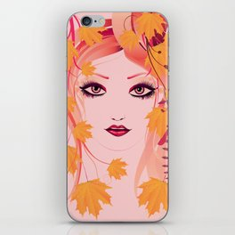 Autumn floral girl iPhone Skin