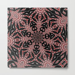 Intricate Black Red and White Kaleidoscope Metal Print