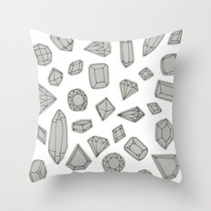 doodle crystals on white Throw Pillow