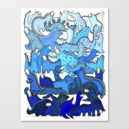 Blue Dinosaur Gradient Canvas Print