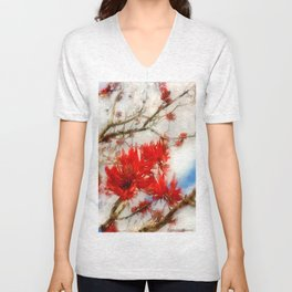 Coral Tree Winter effect Unisex V-Neck