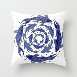 Fish Flow in Blues Throw Pillow