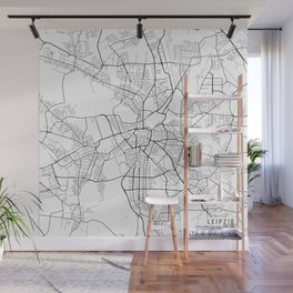 Leipzig Map, Germany - Black and White Wall Mural