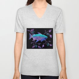 Neon Watercolor Fish Blue Violet Unisex V-Neck