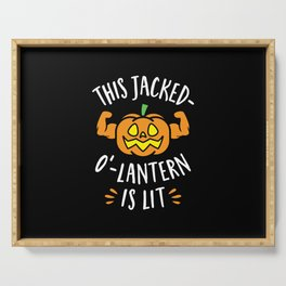 This Jacked-O'-Lantern Is Lit Serving Tray