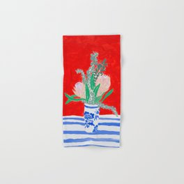 Protea Still Life in Red and Delft Blue Hand & Bath Towel