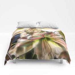 Abstract amaryllis in a garden Comforters