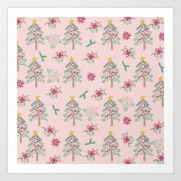 Christmas Pattern Pink Kunstdrucke