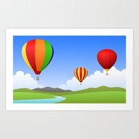 hot air balloons Art Prints featuring Hot Air Balloons by Henry Meadowlark