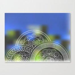 white mandalas on blue Canvas Print