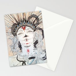 Day of the Dead Portrait Sugar skull with Moth and insect Stationery Cards
