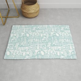 Ancient Greece teal white Rug