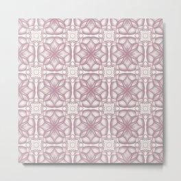 Pink Lavender Flowery Check Metal Print