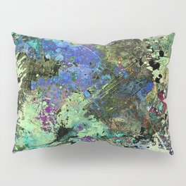 Deep In Thought - Black, blue, purple, white, abstract, acrylic paint splatter artwork Pillow Sham