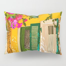 Living in the Sunshine. Always, Travel Sunny Summer Architecture Greece Spain Building Illustration Pillow Sham