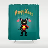 xmas Shower Curtains featuring Happy Xmas by BATKEI