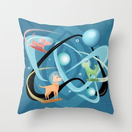 Atomic Rocket Powered Space Dogs Throw Pillow
