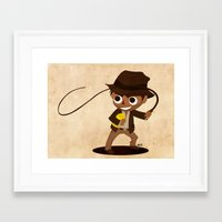 indiana jones Framed Art Prints featuring Indiana Jones by Delucienne Maekerr