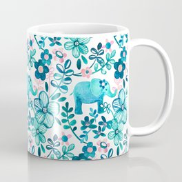 Dusty Pink, White and Teal Elephant and Floral Watercolor Pattern Coffee Mug