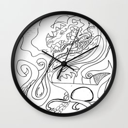 Dragon and feather Wall Clock