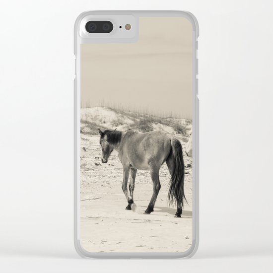 Wild Horses 6 - Black and White Clear iPhone Case