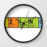 bazinga Wall Clocks featuring Bazinga Periodical by pwrighteous