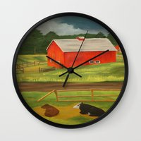 farm Wall Clocks featuring Farm by ArtSchool