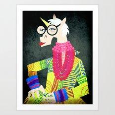 Iris the Unicorn of Fashion Art Print