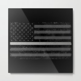 Thin Silver Line Flag Metal Print