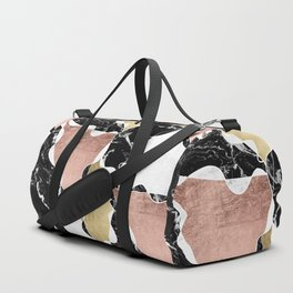 Modern white black marble rose gold foil color block handdrawn geometric lines Duffle Bag