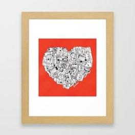 Camera Heart - on red Framed Art Print