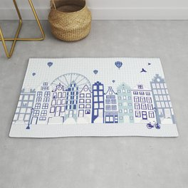 Dutch canal houses from Amsterdam in delft blue Rug