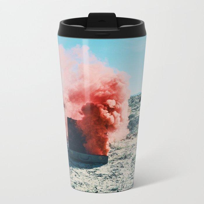 PINK SMOKE - SUIT CASE Metal Travel Mug